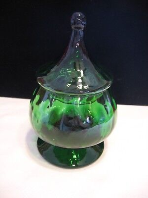 Vintage mid century mod green glass covered pedestal candy dish compote  (B72)