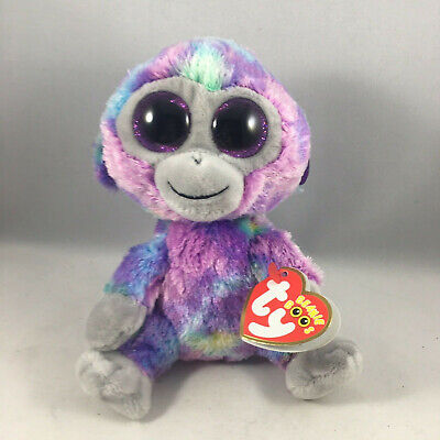 "Ty 6"" ZURI Colorful Monkey Beanie Boos Plush Stuffed Animal w/ MWMT's Heart Tags"