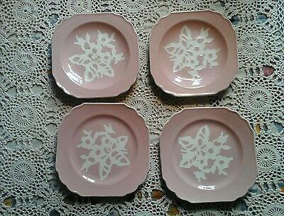 """4 Harker pink Cameo ware 6""""  Plate Square"""