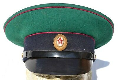 Vintage Russian Or Other Communist Country Visor Cap Hat Red Star Enamel Badge