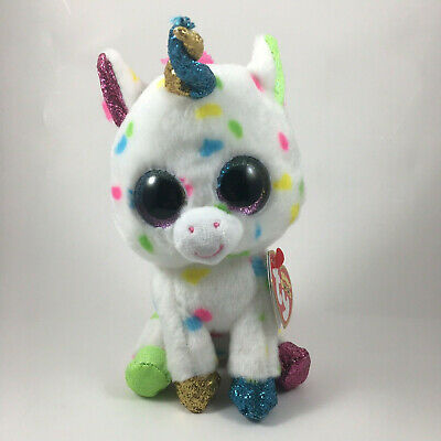 "Ty 6"" HARMONIE Speckled Unicorn Beanie Boos Animal Plush MWMT's Heart Tags 2018"