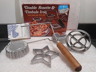 Nordic Ware Double Rosett &Timbale Iron 4 Form Set / Instructions