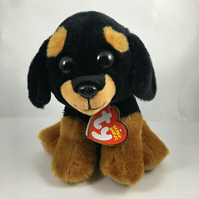 "TY Beanie Baby 6"" TREVOUR Rottweiller Plush Stuffed Animal w/ MWMT's Heart Tags"