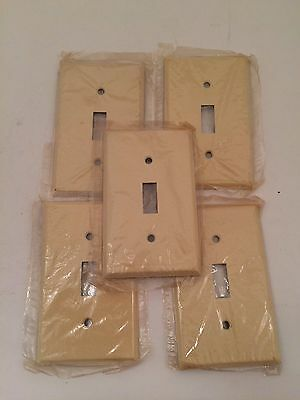 Lot Of 5 Vintage Light Switch Cover Plates Off White Ornate Texture Metal +screw