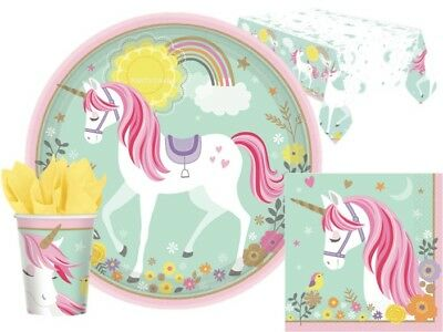 MAGICAL UNICORN Party Girls COMPLETE KITS 8 / 48 Guests Tableware Plates Napkins