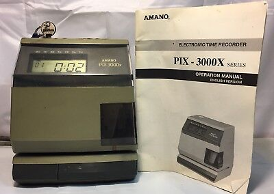 Amano Pix 3000X Electronic Time Recorder With Keys & Manual