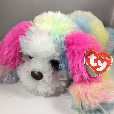 "TY Classic 14.5"" Medium YODELER ST. Bernard Dog Rainbow Plush MWMT's Heart Tags"