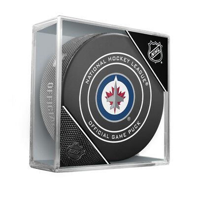 """2018 Winnipeg Jets Official NHL Hockey Game Puck - w/Cube """"New Design"""""""