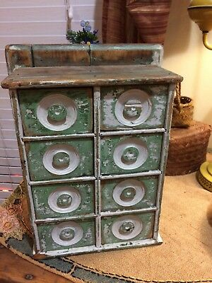 Antique Primitive Green And White Spice Cabinet Box with 8 drawers - Very old