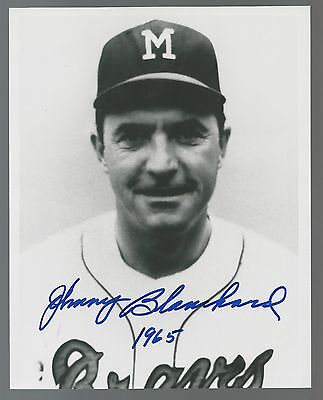 Johnny Blanchard 1965 Milwaukee Braves Signed Auto 8x10 Photo Autograph