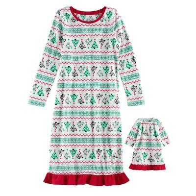 NWT Girls Christmas Tree Nightgown Matching Doll Gown American Girl Dollie    Me 53c2db149