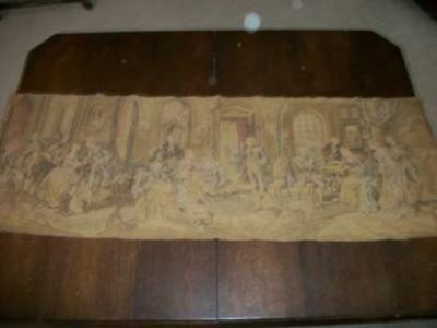 Antique Tapestry Parlor Scene Old Muted Romantic Chic Shabby Paris Apt