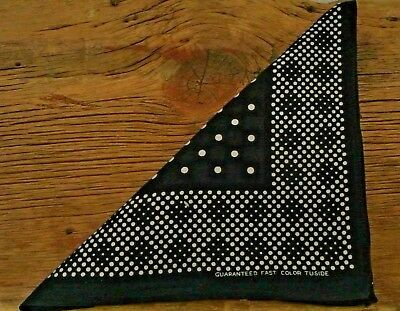 "VTG Indigo TUSIDE Bandana Guaranteed Fast Color Polka Dots 20"" blue Handkerchief"