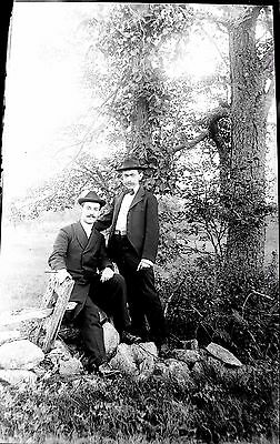 Vintage Large Glass Negative Two Men Posing 8'' x 5'' Early 1900's  #27