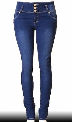 High Waist  Stretch Push-Up Colombian Style Skinny Jeans in Dk. blue  N3233