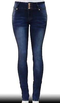 High Waist  Stretch Push-Up Colombian Style Skinny Jeans in Dk. blue  N3442