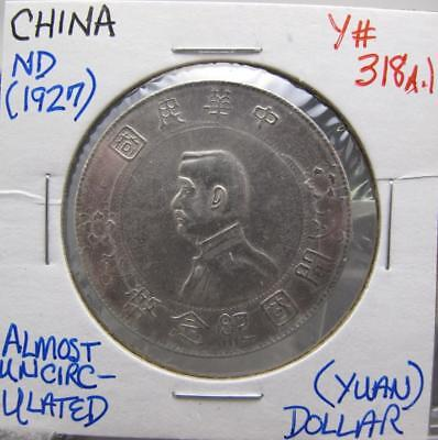 CHINA ND(1927) SILVER DOLLAR (YUAN)! ALMOST UNC! Y# 318a.1! REAL NICE TYPE COIN!
