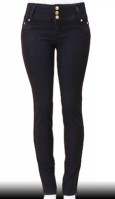 High Waist  Stretch Push-Up Colombian Style Skinny Jeans in Black  N3214
