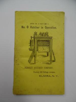 c.1885 Perfect Hatcher Company Catalog Booklet Poultry Brooder Antique Elmira NY