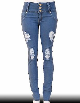 High Waist Stretch Push-Up Colombian Style Skinny Jeans in LT.blue N506A