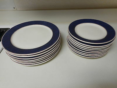 American Living Stoneware 17 Piece Dinner & Salad Plate Set Serving Bowl Blue