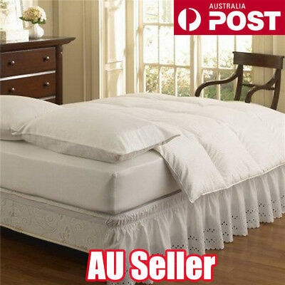 Elastic Embroidered Bed Ruffle Skirt /Valance Easy Fit Wrap Around Soft Queen ON