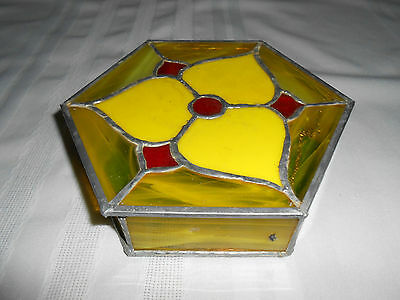Beautiful Original Vintage Stained Glass Hectagon Jewelry Box ~ Hinged Lid