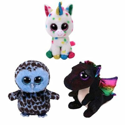 "SET of 3 Ty 6"" YAGO Owl HARMONIE Unicorn ANORA Dragon Beanie Boos Plush MWMT's"