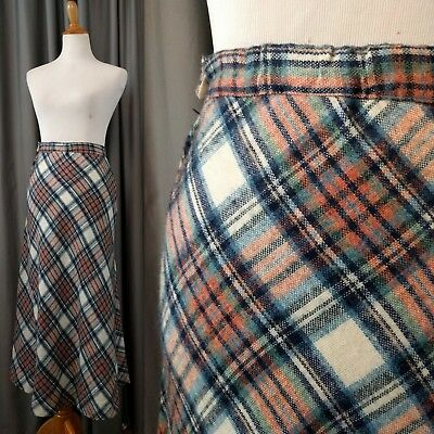 Vintage Plaid Cold Weather Maxi Skirt 70's Red Russ High Waist 25 inch Small