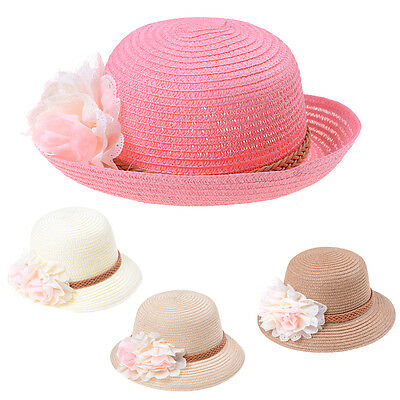 Summer Cute Baby Girls Kids Cap Flowers Decor Straw Beach Sun Wide Brim Hat wpd