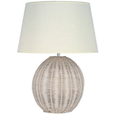 White Wash Rattan Large Table Lamp Natural Unique Design