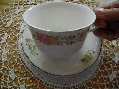 Harker Pottery Antique 1940s Jumbo Cup Saucer Petite Point Cross Stitch Floral