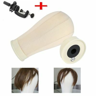 Professional Canvas Block Head Wigs Wig Making Hats Mannequin with Clamp UK