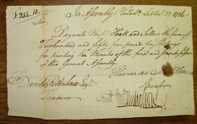 1786 Pennsylvania General Assembly Payment Order Thomas Mifflin Hall & Sellers