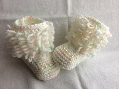 Hand knitted  baby girl booties /shoes 0-3 months