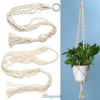 Vintage Macrame Plant Hanger Flowerpot Holder Home Decor Gardenpot Knotted Rope