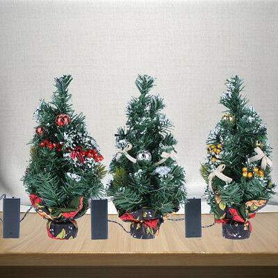 Table Desk Christmas Tree XMAS Decorations Ornaments with A Battery box Mini