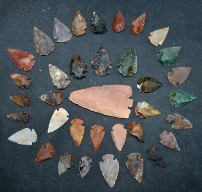 "36 PC Flint Arrowhead Ohio Collection Points 1-3"" Spear Bow Knife Hunting Blade"