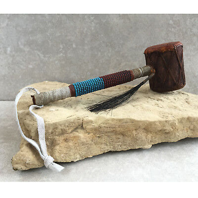 Native American - Navajo Drum Rattle with Beadwork - Shaman Rattle