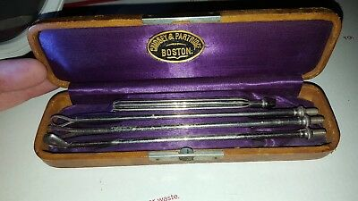 Set Of 3 1800S Antique  Chidsey & Partridge Rinsing Curettes Original Case