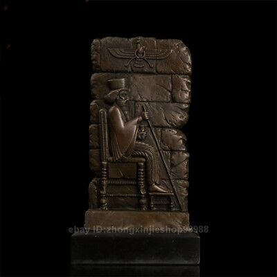 West Art Deco Sculpture Pharaoh of ancient Egypt Signed Bronze Marble statue