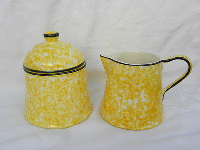 Vintage Stangl Town and Country Yellow Spongeware Creamer and Covered Sugar