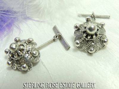 WONDERFUL ANTIQUE ART DECO Sterling Silver 925 Estate DOME BEADED CUFF LINKS