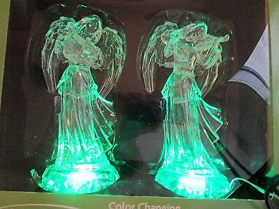 Angels Set Of 2 Holiday Home Led Color Changing Nib