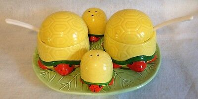 Vintage  Turtle Shaped Condiment Set Salt Pepper Tray Made In Japan