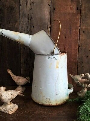 Antique Garden Watering Can Vintage French L'eau Bucket Rusty & Old Blue Paint