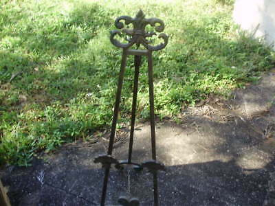 "Vintage Large Styled 41"" Tall Ornate Wrought Iron Display Art Easel  Gold Tone"
