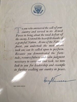 """Original White House President Harry Truman """"Thank You"""" Armed Forces Letter"""