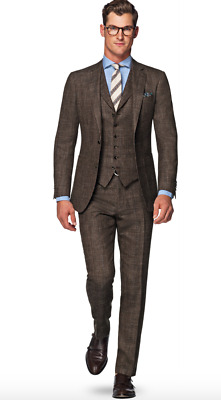 NWT Suitsupply HAVANA Brown Check Wool,Silk,Linen 3 piece Suit 38R Suit supply