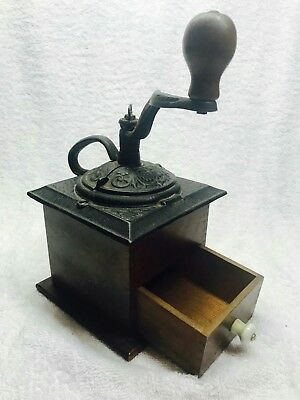 NO RESERVE!  1800's ANTIQUE COFFEE MILL GRINDER. DOVE TAIL CAST IRON  VINTAGE.
